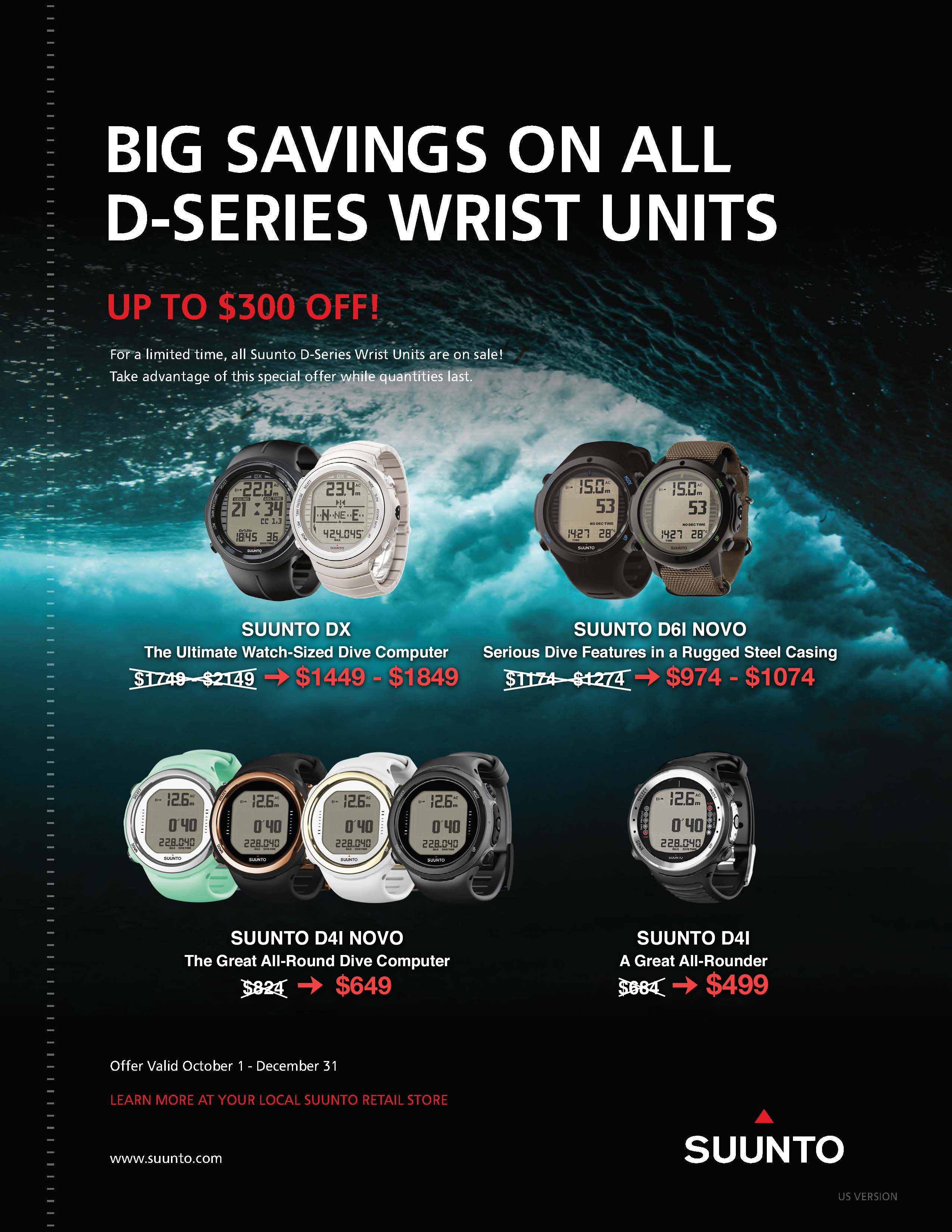 Save Up to $300 on SUUNTO D-Series Watches